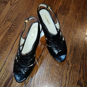 PRADA authentic black leather platform heels